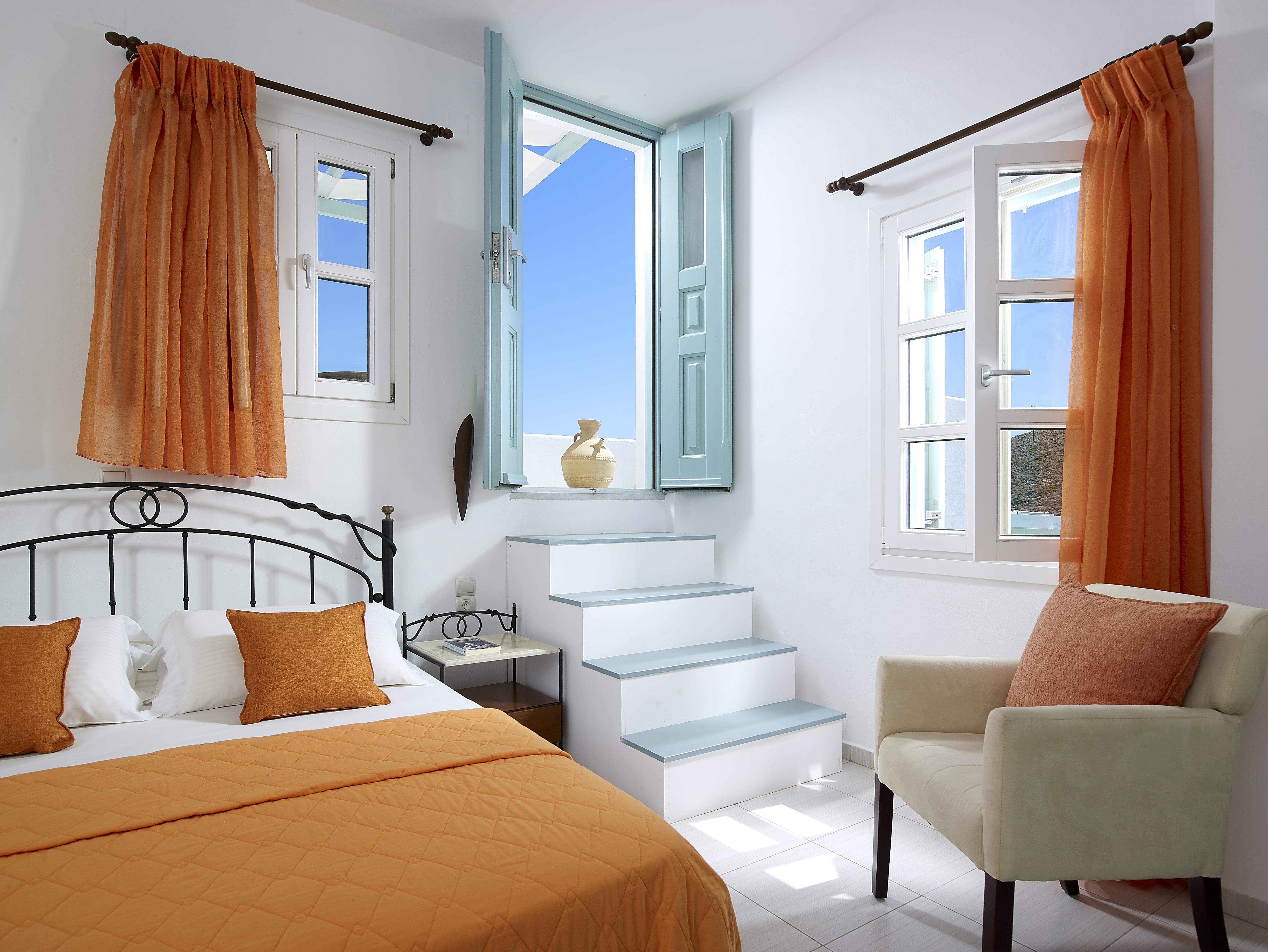 Bedroom twin sea view interior design Asterias Boutique Hotel Milos island Cyclades